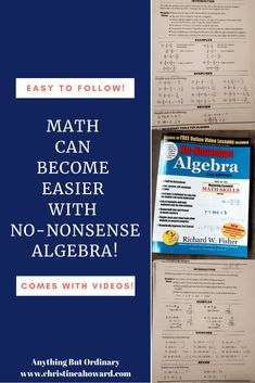 Math Can Become Easier With No-Nonsense Algebra (Review) - Christine A Howard Internet Time, Secondary Resources, Simple Math, Teaching Methods, Some Text, Math Skills, Home Schooling, Math Teacher, Algebra