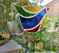 Stained Glass Funky Bird Suncatcher - Multi Coloured - Blue