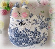 Cat Pillow Doll Cloth Doll 7 inch Blue and White by CharlotteStyle, $16.00