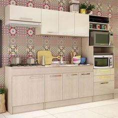 Cozinha Compacta Gralar Bella 203 (Não Acompanha Cuba, Torneira e Acessórios) Elmo Natural/Champanhe