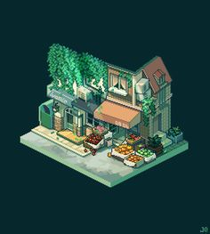 "조각 on Twitter: ""#pixelart #isometric #street green… """
