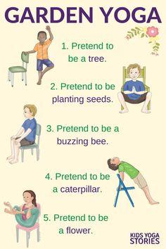 Practice these five garden yoga poses for kids using a chair in your classroom or homeschool | Kids Yoga Stories  {pacifickid.net}