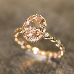 Floral Morganite Engagement Ring in 14k Rose Gold Diamond Pebble Ring 9x7mm Oval Pinkish Peach Morganite Wedding Ring (Bridal Set Available)