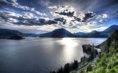Como lake, evening, mountains, Lombardy, HDR, Italy