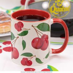 Cherries Vintage Pattern Coffee Mug | Ceramic Mugs | RetroPlanet.com Retro Cherry Mug Add some fruity fun to your office desk or kitchen table with the Cherries Coffee Mug. With sharp, wraparound artwork featuring illustrations of bunches of ripe red cherries, this 10 oz. ceramic coffee cup will get you through your day or delight any fan as a fun gift.