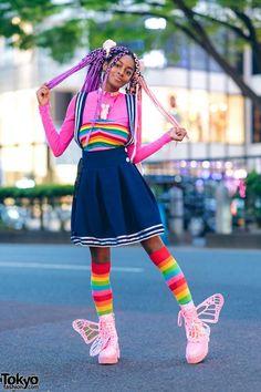Rainbow Harajuku Street Style w/ Pink Purple Braids & Glitter Platform Butterfly. - Rainbow Harajuku Street Style w/ Pink Purple Braids & Glitter Platform Butterfly Wing Boots - ? Estilo Harajuku, Harajuku Girls, Harajuku Fashion, Kawaii Fashion, Harajuku Japan, Harajuku Style, Tokyo Street Fashion, Tokyo Street Style, Japan Fashion