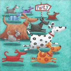 Peter Adderley Photograph - Party by MGL Meiklejohn Graphics Licensing Children's Book Illustration, Illustrations, Art Fantaisiste, Art Carte, Arte Dachshund, Cartoon Dog, Naive Art, Whimsical Art, Happy Dogs