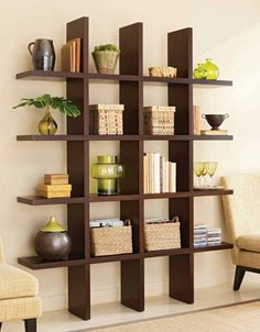 Decorating Ideas. Inspiring Low Cost Creative Room Divider Design. Contemporary And Creative Book Shelves Design with Shelves on The Wall with Wooden Material for Living room Interior Furniture