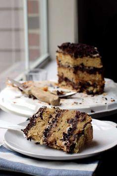 Momofuku Chocolate Chip Peach Cake - (Buttermilk Cake, Coffee Frosting, Cookie Crumb, Peach Curd)
