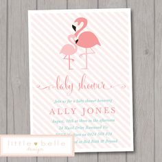 Flamingo Baby Shower Invitation Printable / By LittleBelleDesign