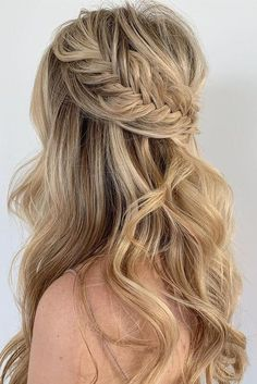 28 Captivating Half Up Half Down Wedding Hairstyles---loose long hair with bold braid and curly tresses, rustic weddings, garden and country wedding theme