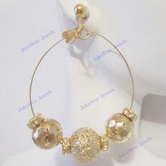 CLIP ON 2 inch Filigree GoldT Rhinestone Hoop Handmade Non-Pierced Earrings V28 #Handmade #Hoop