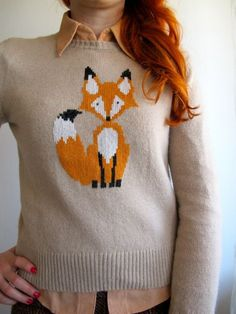 I mean, I might need a Fox sweater Fox Sweater, Sweater Weather, Shirt Embroidery, Refashion, Pulls, Autumn Winter Fashion, Knitwear, Knitting Patterns, Knit Crochet