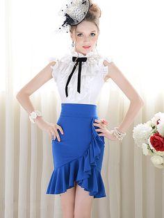 Royal Blue Designer Ruffle Hemline Celebrity Trendy Pleated Skirt by jannyshere Only Fashion, Cute Fashion, Skirt Fashion, High Fashion, Women's Fashion, Pleated Skirt, High Waisted Skirt, Fishtail Skirt, Mid Length Skirts