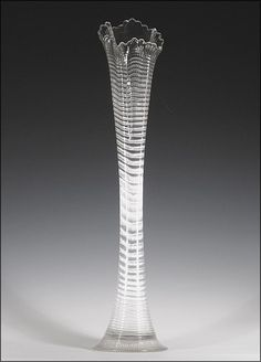 Heisey Plaid Swung Vase