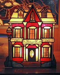 Stained Glass Victorian House candle shelter
