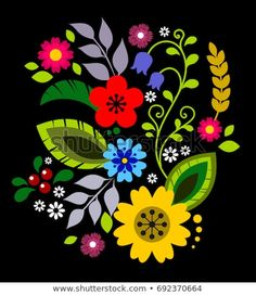 Polish Folk Decorative Element Vector Wektorowa ilustracja s Hungarian Embroidery, Folk Embroidery, Vintage Embroidery, Floral Embroidery, Embroidery Patterns, Folk Art Flowers, Flower Art, Polish Folk Art, Lazy Daisy Stitch