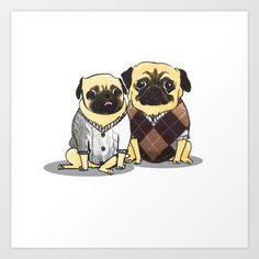 Sweater+Pugs+Art+Print+by+Nerf+Warrior+-+$13.52