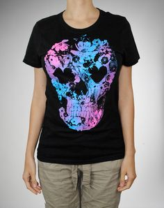 Skull Butterfly Blacklight Junior Fitted Tee  $19.99