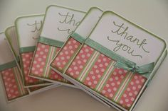 Mini Thank You Cards Set of 8 Pink and Green by CoopsCraftyCorner, $7.50