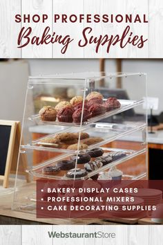 Serve Up Sweet Treats For Your Guests | Shop Display Cases, Mixers, Packaging, & Much More Bakery Display Case, Display Cases, Breakfast And Brunch, Dog Treat Recipes, Cake Recipes, Cooking Recipes, Healthy Recipes, Healthy Soda, Bakery Supplies