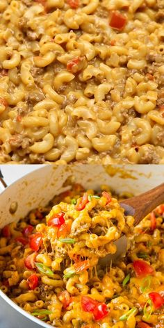 One Pot Taco Mac and Cheese is the perfect blend of seasoned ground beef, pasta, cheese and your favorite taco toppings all rolled into one fantastic dish. It's fast, easy and ready in under 30 minutes! Taco Mac And Cheese, Pasta Cheese, Easy Casserole Recipes, Pasta Recipes, Cooking Recipes, Mexican Food Recipes, Vegetarian Recipes, Healthy Recipes, Healthy Meals