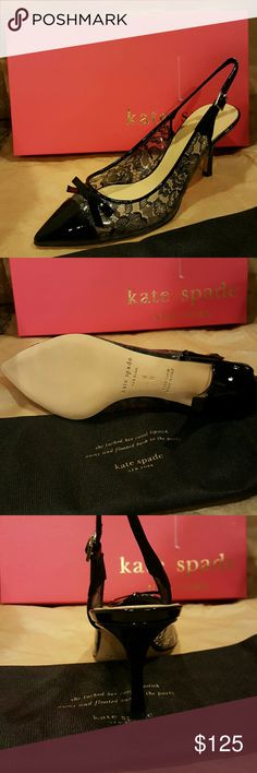Like New! Kate Spade New York Justice Black Heels Cute heels, black vinyl lace with a patent leather toe and bow. Adjustable ankle strap, soft leather sole. Made in Italy. Includes box and dust bag. kate spade Shoes Heels