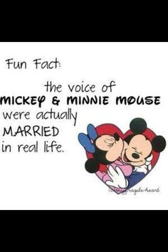 The voice of Mickey and Minnie Mouse were actually married in real life.