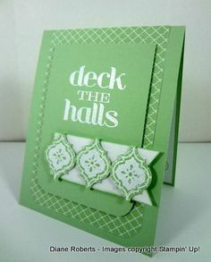 Stampin' Up! ... hand crafted Christmas card ... monochromatic green ... lots of layers ... like it!