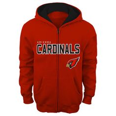 Arizona Cardinals Youth Cardinal Fan Gear Stated Full Zip Team Color Hoodie