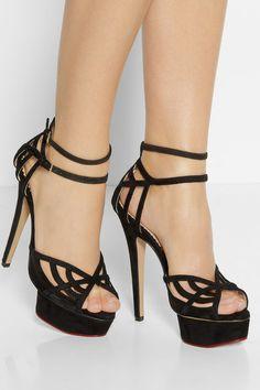 Charlotte Olympia | Octavia suede and mesh platform sandals | NET-A-PORTER.COM