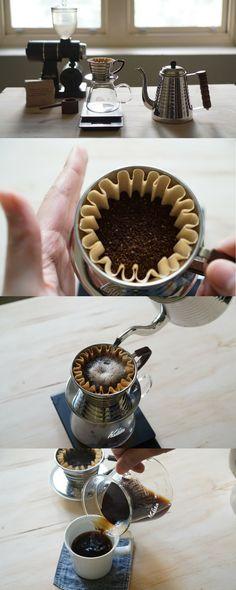 Home brewing the perfect cup of coffee with the Kalita Wave http://kurasu.me/blogs/kurasu-journal/40270593-home-brewing-the-perfect-pour-over-coffee Coffee Cafe, Tea Cafe, My Coffee, Coffee Beans, Coffee Drinks, Coffee Mugs, Home Brewing Equipment, Coffee Equipment, Pour Over Coffee