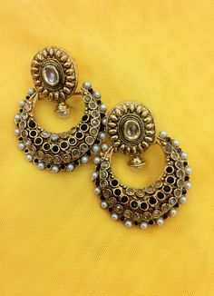 Available at Zari & Zevar -Kundan Chandbali Earring for $24.99 www.zariandzevar.com
