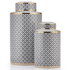 Our distinctive Emilia Canisters provide a tenor of sophistication for your decor, in a graphic geometric Black and White pattern complemented by chic Gold banding at the edges