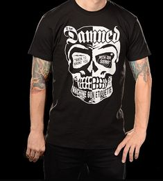The Damned Band Tee High Quality Print on Black Shirt Glow in the Dark Ink! Printed on a Cotton Soft Shirt Fits: True to Size Men's Shirt The Damned Band, Dark Ink, Skull Shirts, Band Shirts, Etiquette, Gun, Printed, Mens Tops, T Shirt