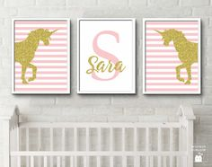 Personalised Baby Name Print Unicorn Art Initials Letters