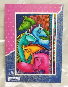 Horse Friends cards by Alison Heikkila. Stamp from Stampendous, featuring the art of Laurel Burch. #Stampendous #laurelburch #horse
