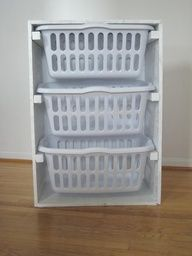 Great idea for bedrooms with multiple kids. Each child has their own hamper and going vertical is always a great idea for saving space!