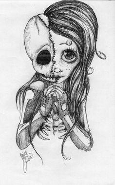 Skull Girl by BabyDeer-Draws