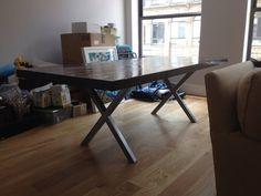 "Furniture Legs Brushed Nickel x metal table legs - brushed nickel finish - 2"" x 2"" steel tube"