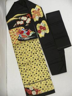 "Antique Black Silk ""Nagoya-obi"" with Woven ""Ume"" Blossoms, ""Kiku (Chrysanthemum)"", ""Oshidori ""(Mandarin Ducks) Patterns, some Gold & Glossy Threads, Velvet Weaves"