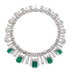 AN ART DECO EMERALD AND DIAMOND FRINGE NECKLACE Designed as five graduated rectangular-shaped emeralds to the pavé-set and baguette-cut diamond fringe and double-row diamond necklace, circa cm long, with French assay mark for platinum, in black case Bijoux Art Deco, Art Nouveau Jewelry, Jewelry Art, Antique Jewelry, Vintage Jewelry, Fine Jewelry, Jewelry Design, Vintage Brooches, Jewlery