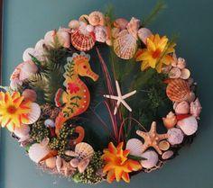 Beach Wreath_Tropical sea horse wreath by CarmelasCoastalCraft