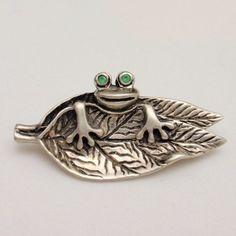 Frog on A Leaf Pin Vintage Sterling Silver Brooch Figural   eBay
