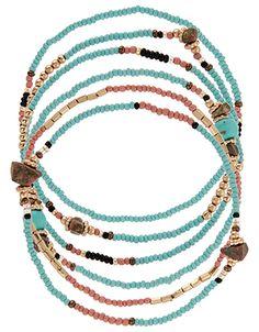 Lot de petits bracelets élastiques turquoises