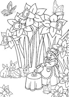 Pumpkins And Corn Stalks Coloring Page