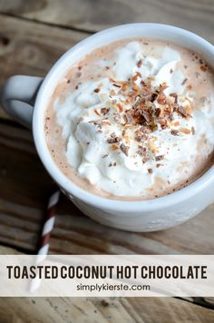 In less than ten minutes, you can have decadently rich & creamy Toasted Coconut Hot Chocolate! Perfect for serving to a crowd, or to your family.