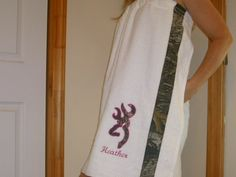 Mossy Oak/Deer  Spa Wrap/Cover Up-Personalized. $28.00, via Etsy.
