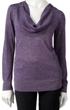 Dana Buchman Purple Metallic Lurex Cowlneck Sweater Blouse Top NEW NWT $50 #DanaBuchman #Cowlneck #CasualDress