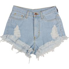 High Rise Fringed Denim Shorts (€28) found on Polyvore featuring women's fashion, shorts, bottoms, short, pants, short shorts, high waisted denim shorts, fringe shorts, fringe denim shorts and high waisted shorts